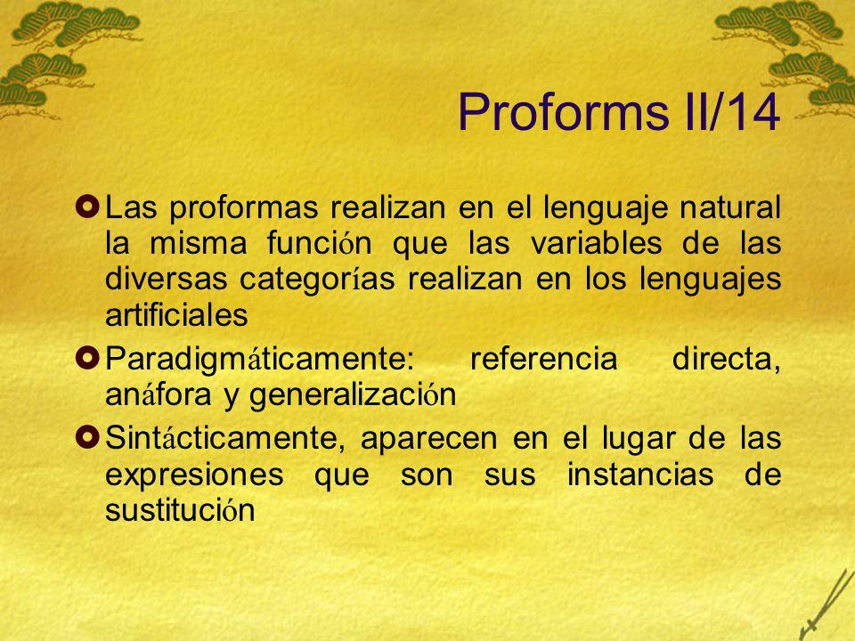 Proforms II/14 Las proformas realizan en el lenguaje natural la misma funci ó n que las variables de las diversas categor í as realizan en los lenguaj