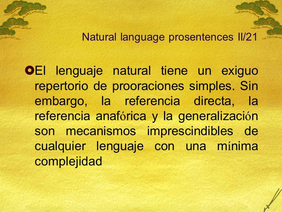 Natural language prosentences II/21 El lenguaje natural tiene un exiguo repertorio de prooraciones simples. Sin embargo, la referencia directa, la ref