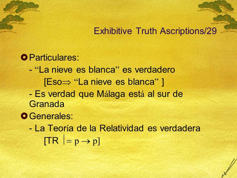 Exhibitive Truth Ascriptions/29 Particulares: - La nieve es blanca es verdadero [Eso La nieve es blanca ] - Es verdad que M á laga est á al sur de Gra