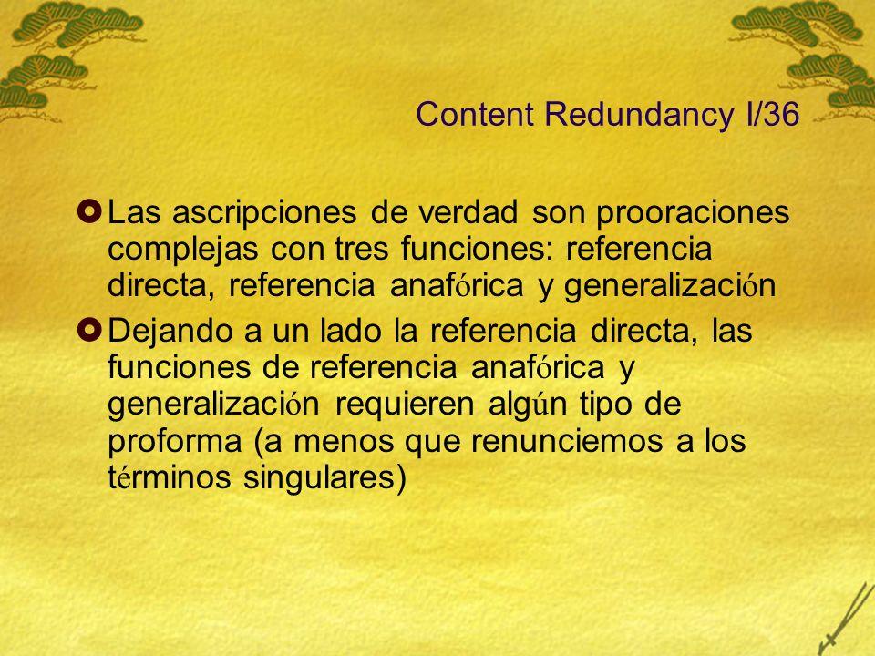 Content Redundancy I/36 Las ascripciones de verdad son prooraciones complejas con tres funciones: referencia directa, referencia anaf ó rica y general