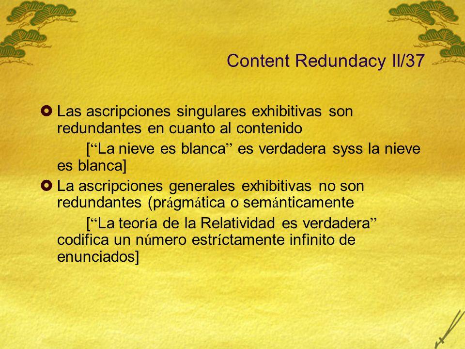 Content Redundacy II/37 Las ascripciones singulares exhibitivas son redundantes en cuanto al contenido [ La nieve es blanca es verdadera syss la nieve