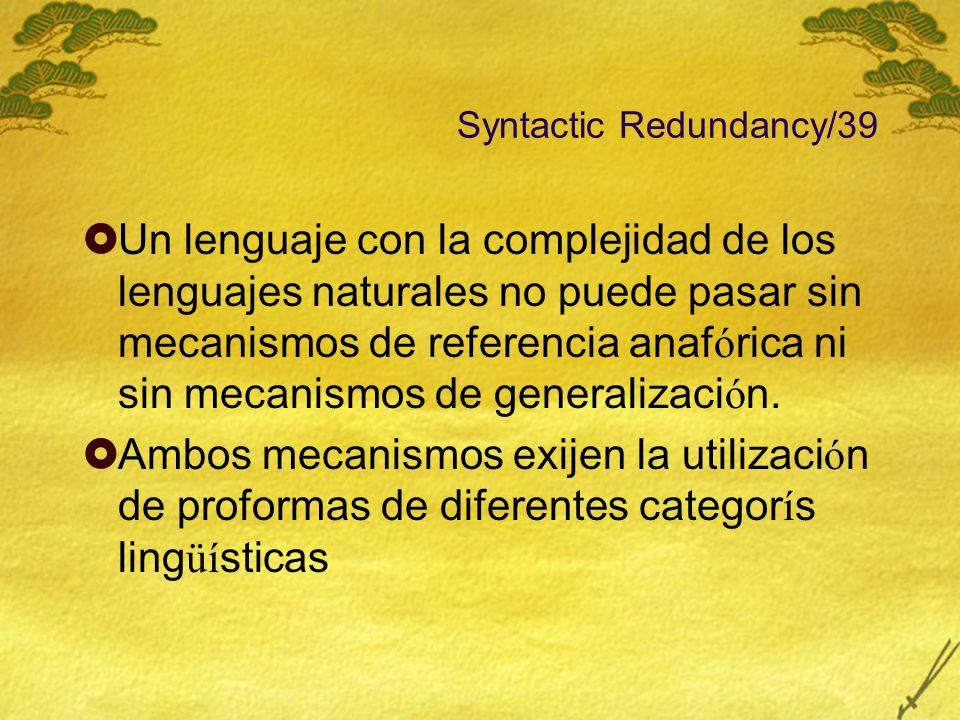 Syntactic Redundancy/39 Un lenguaje con la complejidad de los lenguajes naturales no puede pasar sin mecanismos de referencia anaf ó rica ni sin mecan