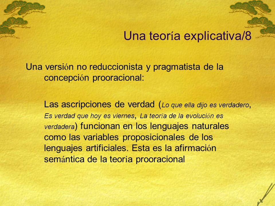 Una teor í a explicativa/8 Una versi ó n no reduccionista y pragmatista de la concepci ó n prooracional: Las ascripciones de verdad ( Lo que ella dijo