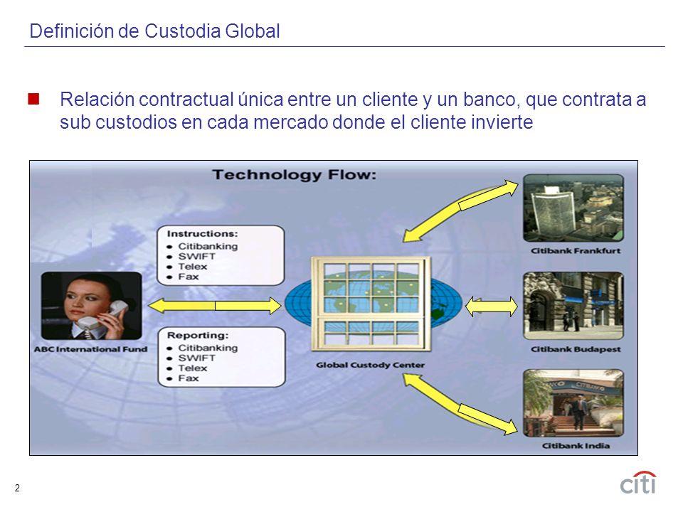 2 Relación contractual única entre un cliente y un banco, que contrata a sub custodios en cada mercado donde el cliente invierte Definición de Custodia Global