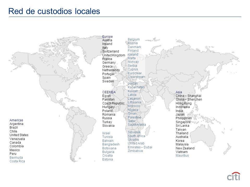 Red de custodios locales Americas Argentina Brazil Chile United States Venezuela Canada Colombia Mexico Peru Bermuda Costa Rica CEEMEA Egypt Pakistan