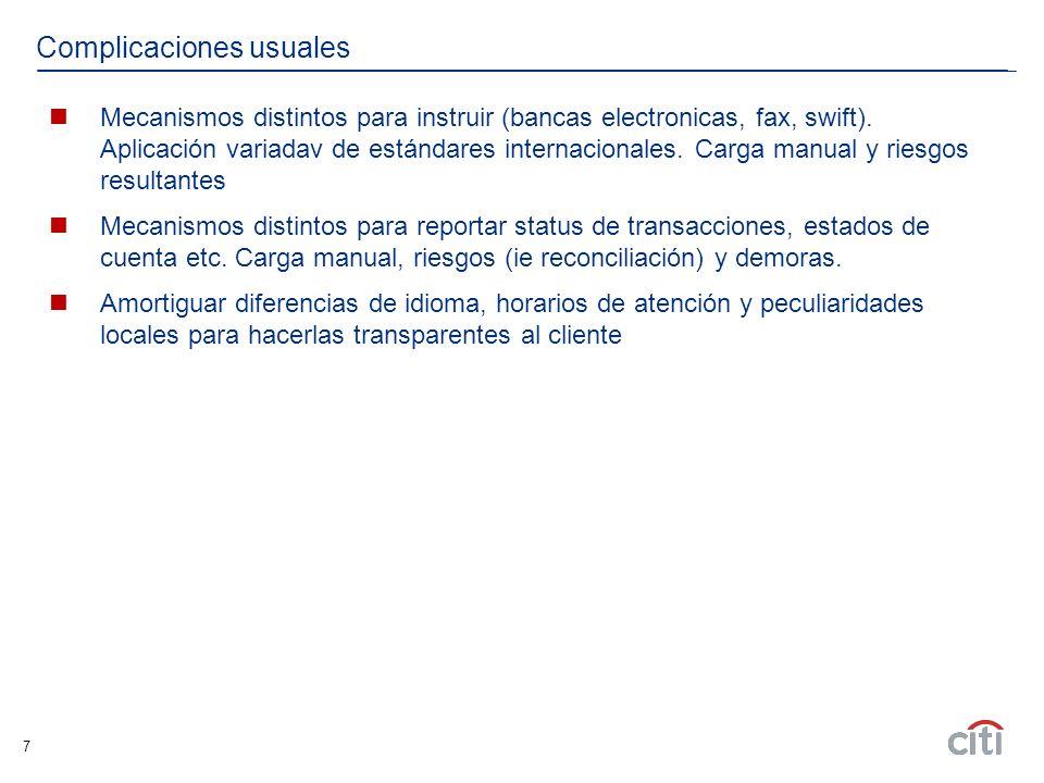7 Complicaciones usuales Mecanismos distintos para instruir (bancas electronicas, fax, swift). Aplicación variadav de estándares internacionales. Carg