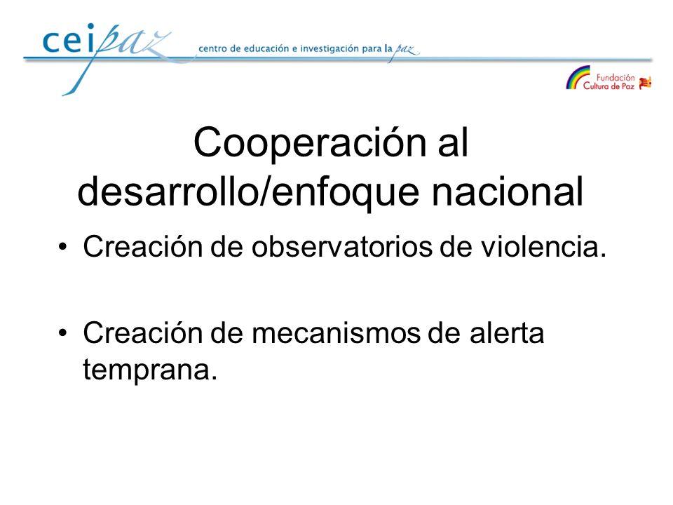 Cooperación al desarrollo/enfoque nacional Creación de observatorios de violencia. Creación de mecanismos de alerta temprana.