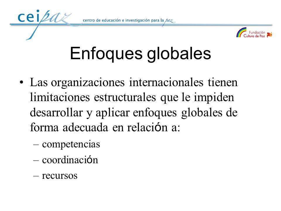 Enfoques globales Las organizaciones internacionales tienen limitaciones estructurales que le impiden desarrollar y aplicar enfoques globales de forma