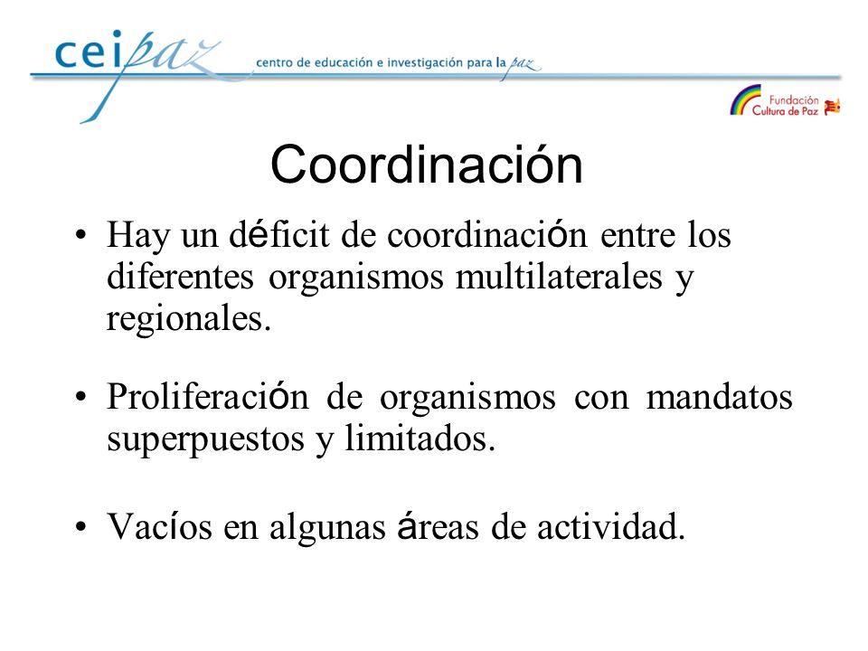 Coordinación Hay un d é ficit de coordinaci ó n entre los diferentes organismos multilaterales y regionales. Proliferaci ó n de organismos con mandato