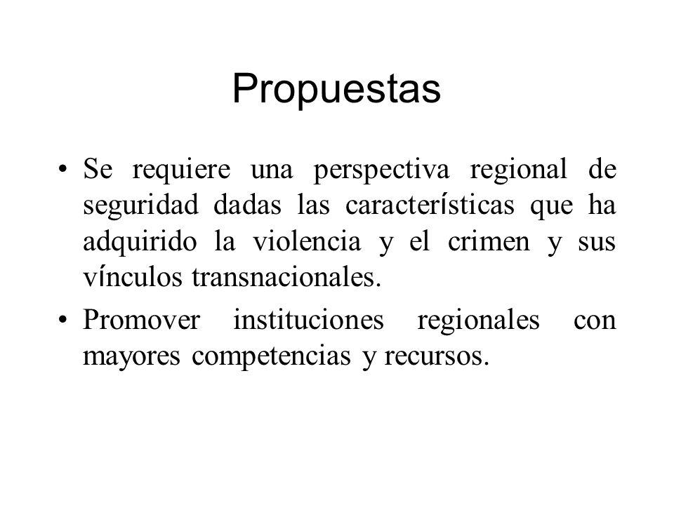 Propuestas Se requiere una perspectiva regional de seguridad dadas las caracter í sticas que ha adquirido la violencia y el crimen y sus v í nculos tr