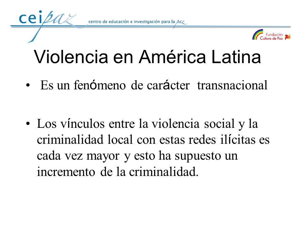 Violencia en América Latina Es un fen ó meno de car á cter transnacional Los v í nculos entre la violencia social y la criminalidad local con estas re