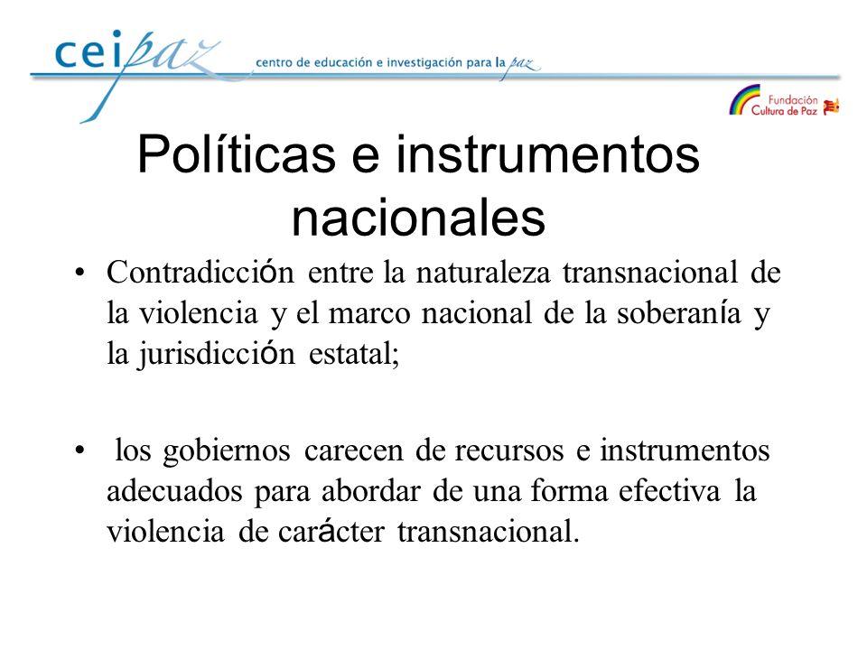 Políticas e instrumentos nacionales Contradicci ó n entre la naturaleza transnacional de la violencia y el marco nacional de la soberan í a y la juris