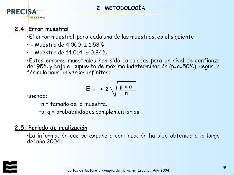 Hábitos de lectura y compra de libros en España. Año 2004 9 2.4. Error muestral El error muestral, para cada una de las muestras, es el siguiente: - M