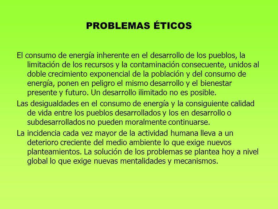 PROBLEMAS ÉTICOS El consumo de energía inherente en el desarrollo de los pueblos, la limitación de los recursos y la contaminación consecuente, unidos