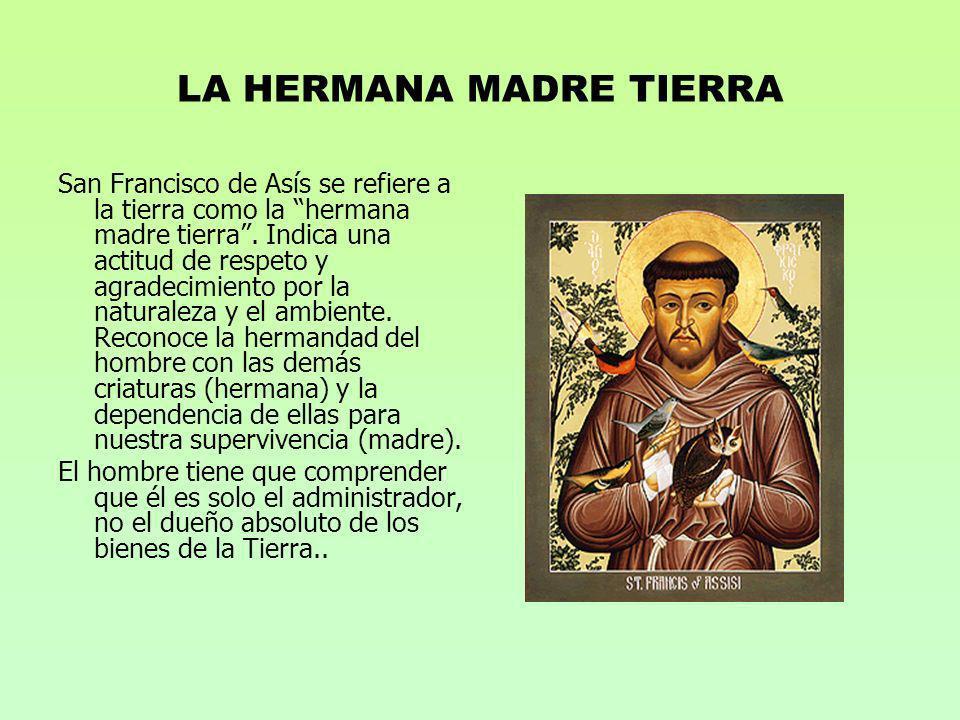 LA HERMANA MADRE TIERRA San Francisco de Asís se refiere a la tierra como la hermana madre tierra. Indica una actitud de respeto y agradecimiento por