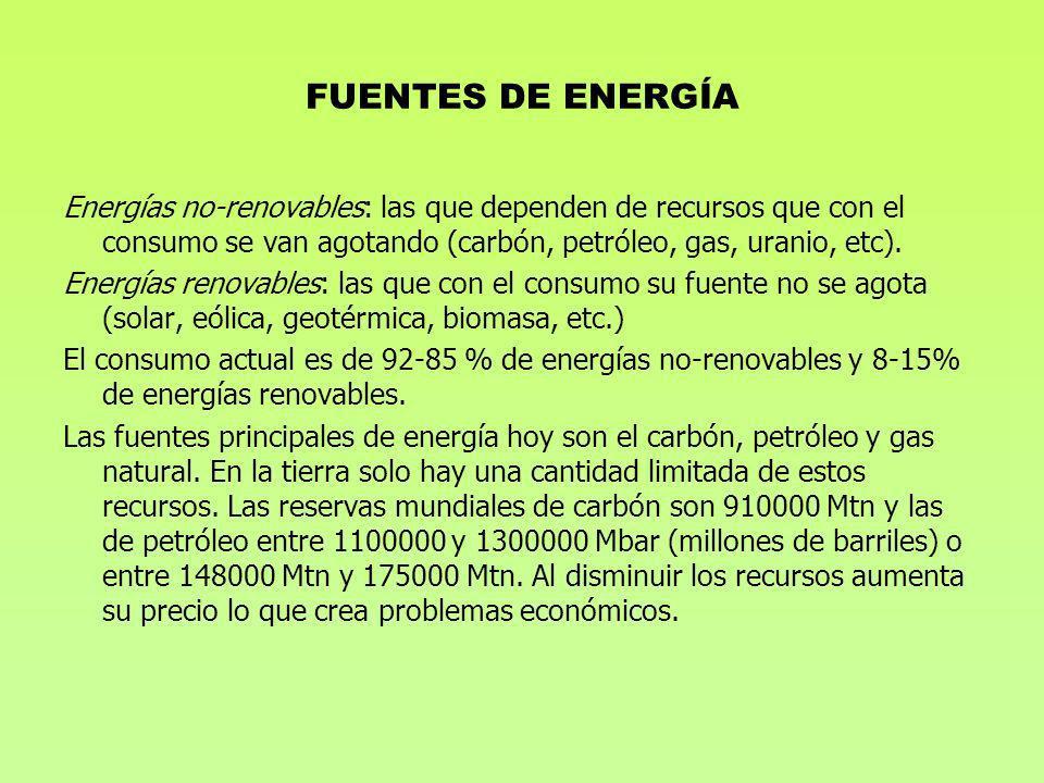 FUENTES DE ENERGÍA Energías no-renovables: las que dependen de recursos que con el consumo se van agotando (carbón, petróleo, gas, uranio, etc). Energ