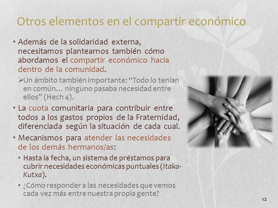 12 Otros elementos en el compartir económico Además de la solidaridad externa, necesitamos plantearnos también cómo abordamos el compartir económico h