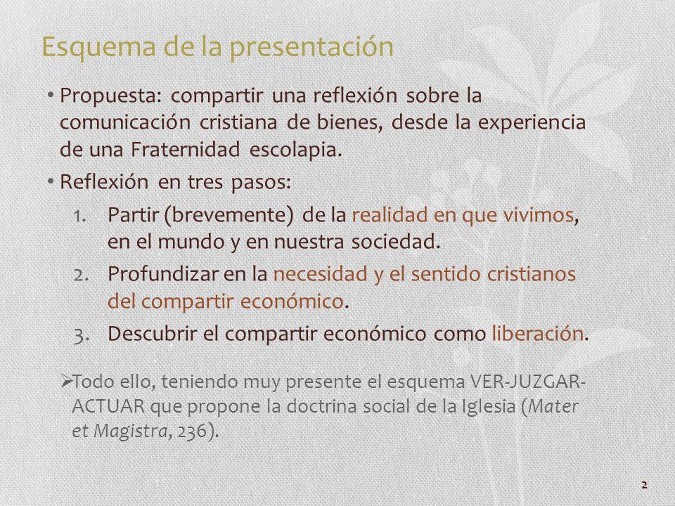 2 Esquema de la presentación Propuesta: compartir una reflexión sobre la comunicación cristiana de bienes, desde la experiencia de una Fraternidad esc