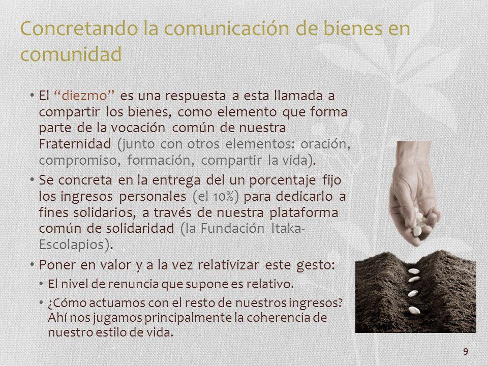 9 Concretando la comunicación de bienes en comunidad El diezmo es una respuesta a esta llamada a compartir los bienes, como elemento que forma parte d