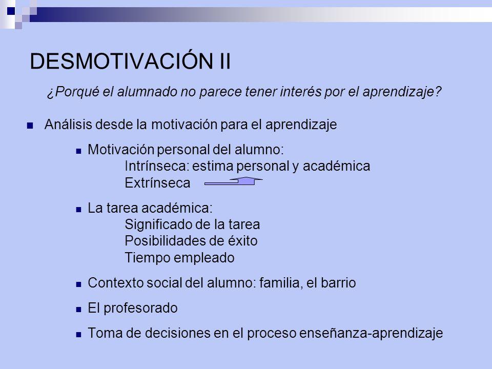 DESMOTIVACIÓN II ¿Porqué el alumnado no parece tener interés por el aprendizaje? Análisis desde la motivación para el aprendizaje Motivación personal