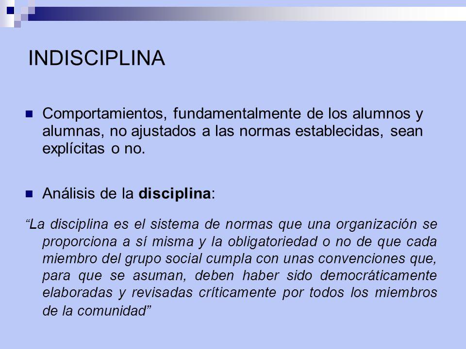 INDISCIPLINA Comportamientos, fundamentalmente de los alumnos y alumnas, no ajustados a las normas establecidas, sean explícitas o no. Análisis de la