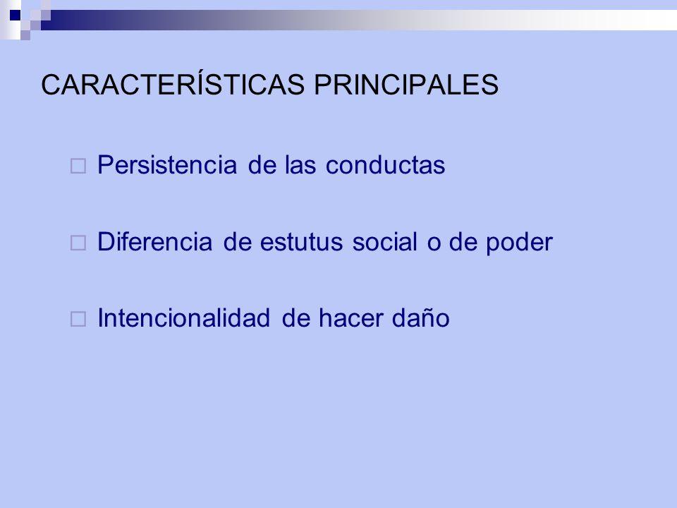 CARACTERÍSTICAS PRINCIPALES Persistencia de las conductas Diferencia de estutus social o de poder Intencionalidad de hacer daño