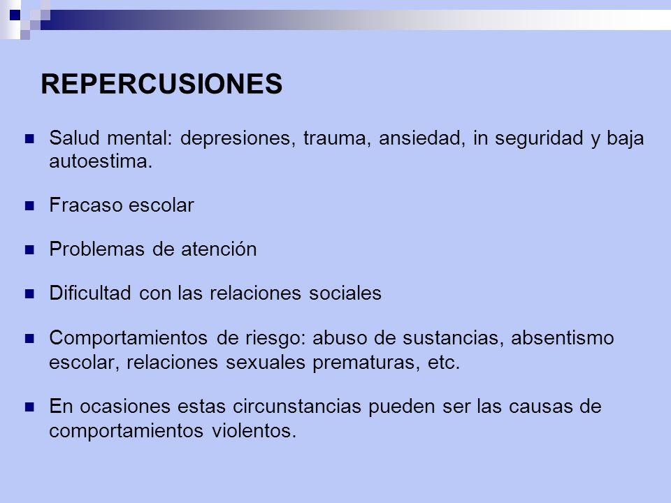 REPERCUSIONES Salud mental: depresiones, trauma, ansiedad, in seguridad y baja autoestima. Fracaso escolar Problemas de atención Dificultad con las re