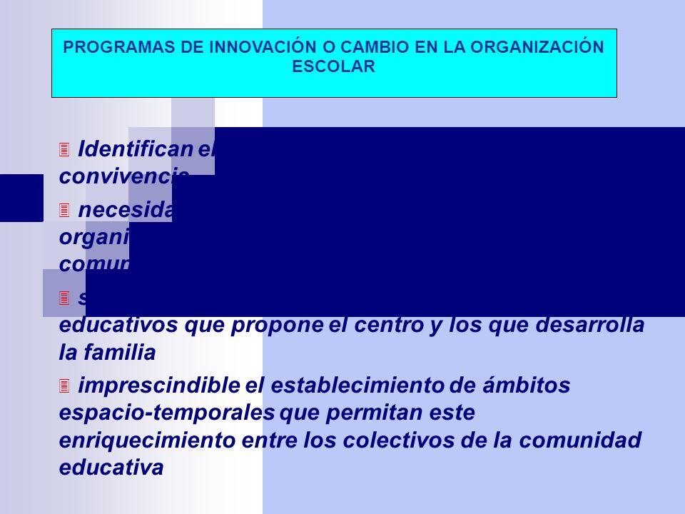 Identifican el centro con un sistema general de convivencia necesidad de implicar en el diseño y desarrollo de la organización del centro a todos los