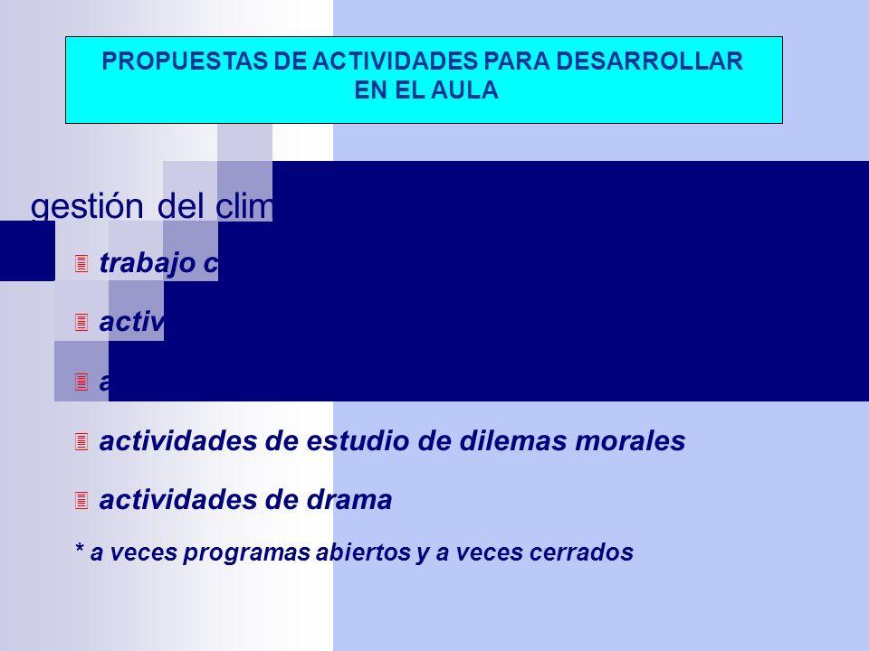 gestión del clima social del aula trabajo curricular en grupo cooperativo actividades de educación en valores actividades de educación sentimientos ac