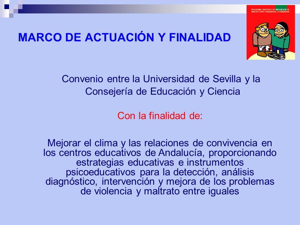 Convenio entre la Universidad de Sevilla y la Consejería de Educación y Ciencia Con la finalidad de: Mejorar el clima y las relaciones de convivencia
