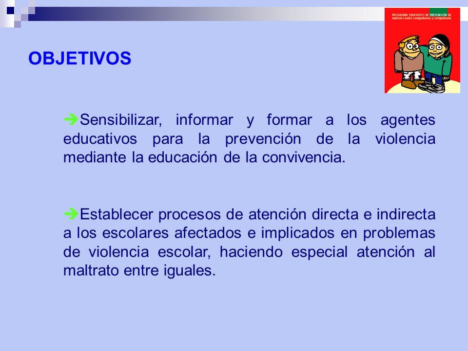 Sensibilizar, informar y formar a los agentes educativos para la prevención de la violencia mediante la educación de la convivencia. Establecer proces