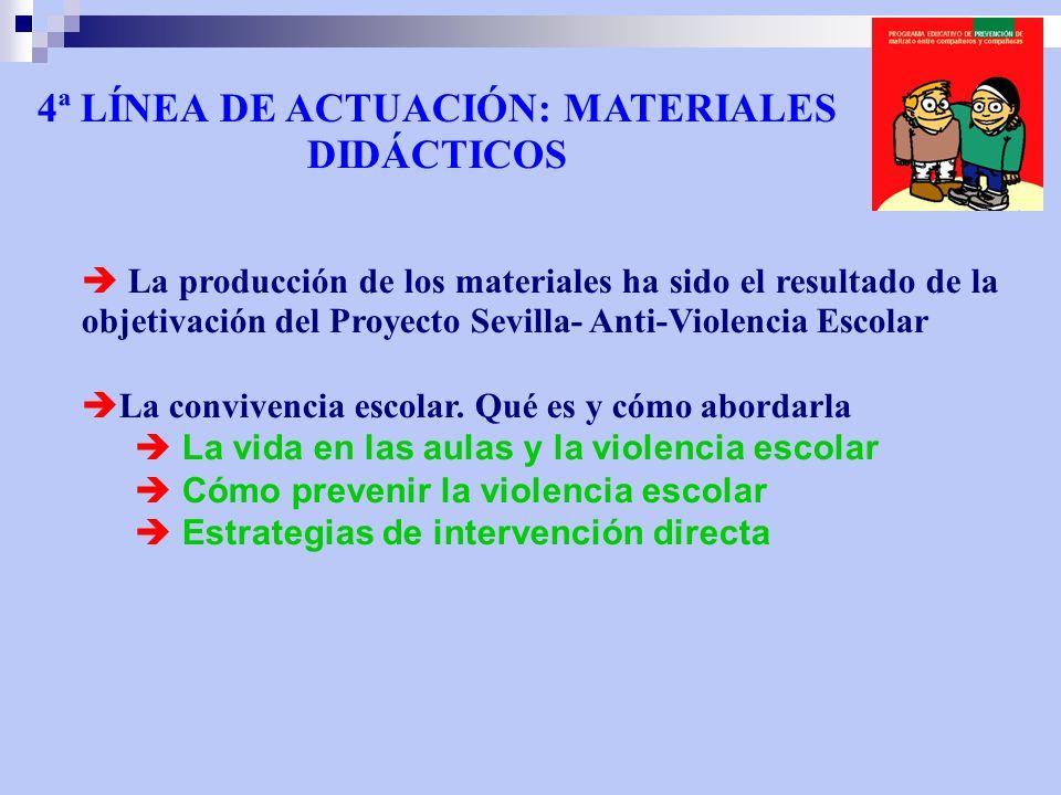4ª LÍNEA DE ACTUACIÓN: MATERIALES DIDÁCTICOS La producción de los materiales ha sido el resultado de la objetivación del Proyecto Sevilla- Anti-Violencia Escolar La convivencia escolar.