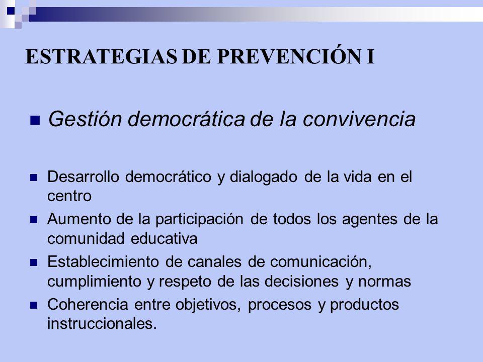 ESTRATEGIAS DE PREVENCIÓN I Gestión democrática de la convivencia Desarrollo democrático y dialogado de la vida en el centro Aumento de la participaci