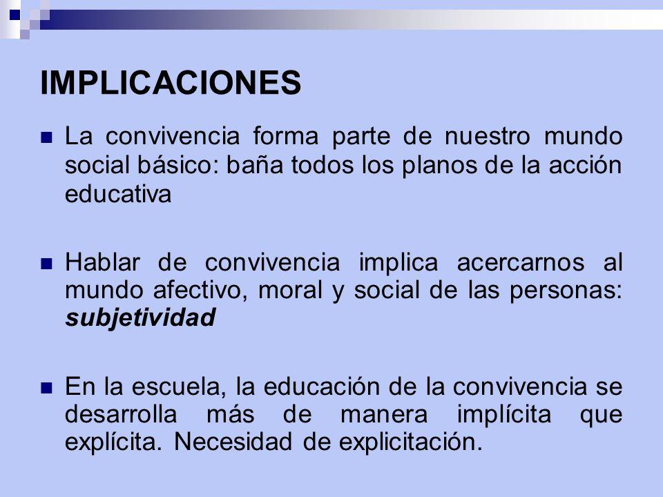 IMPLICACIONES La convivencia forma parte de nuestro mundo social básico: baña todos los planos de la acción educativa Hablar de convivencia implica ac