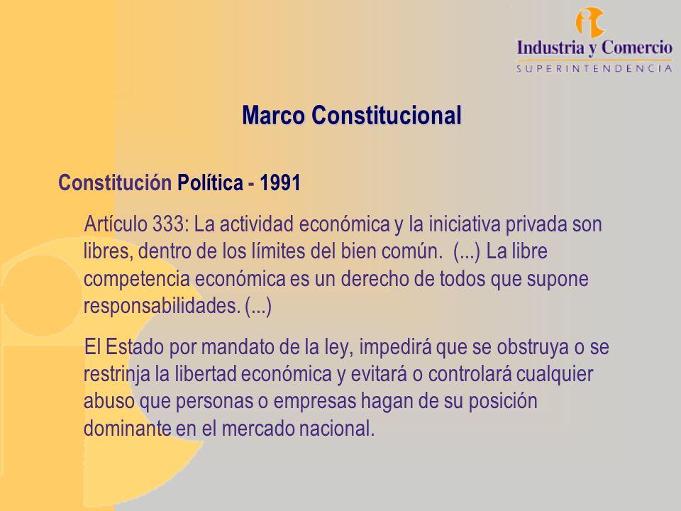 Marco Constitucional Constitución Política - 1991 Artículo 333: La actividad económica y la iniciativa privada son libres, dentro de los límites del b