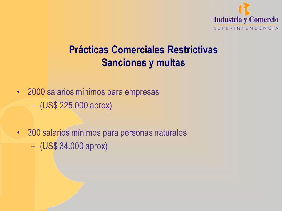 Prácticas Comerciales Restrictivas Sanciones y multas 2000 salarios mínimos para empresas –(US$ 225.000 aprox) 300 salarios mínimos para personas natu