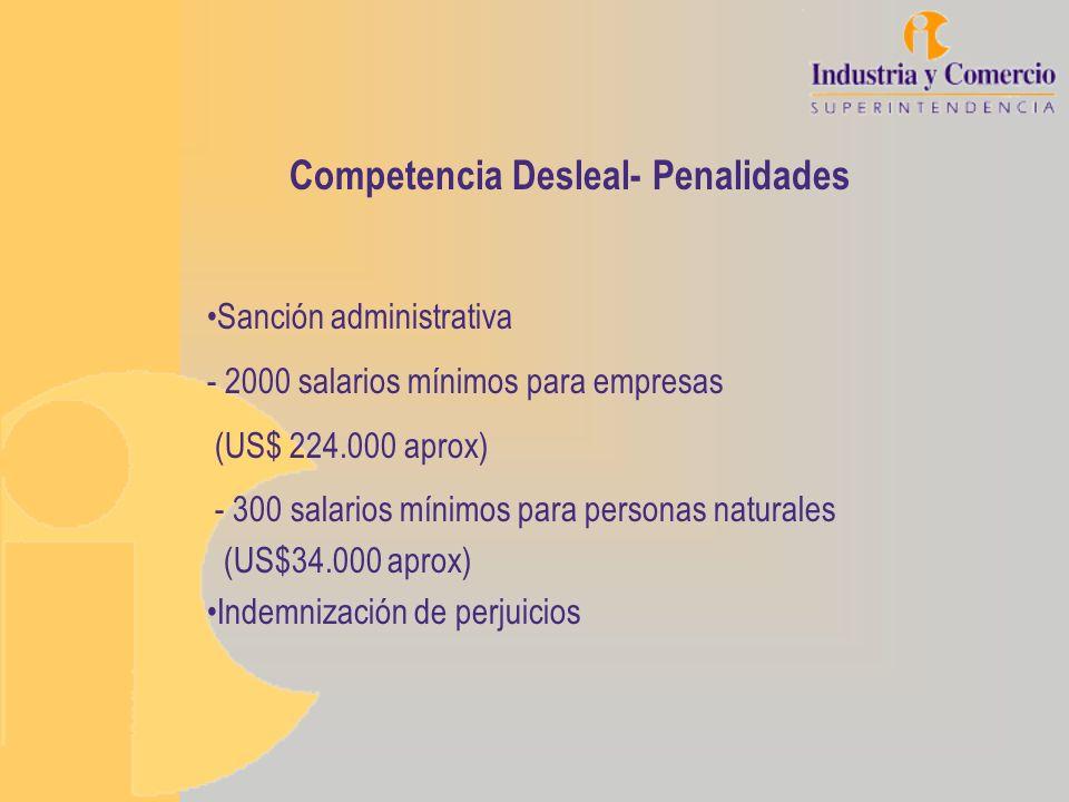 Competencia Desleal- Penalidades Sanción administrativa - 2000 salarios mínimos para empresas (US$ 224.000 aprox) - 300 salarios mínimos para personas