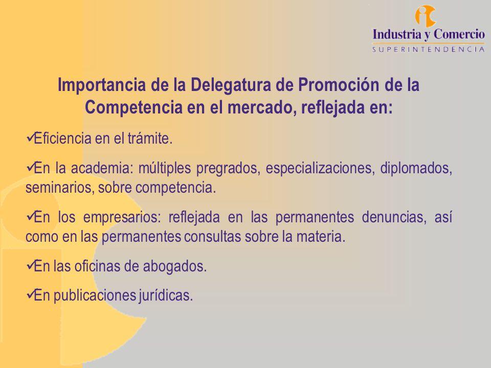 Importancia de la Delegatura de Promoción de la Competencia en el mercado, reflejada en: Eficiencia en el trámite. En la academia: múltiples pregrados