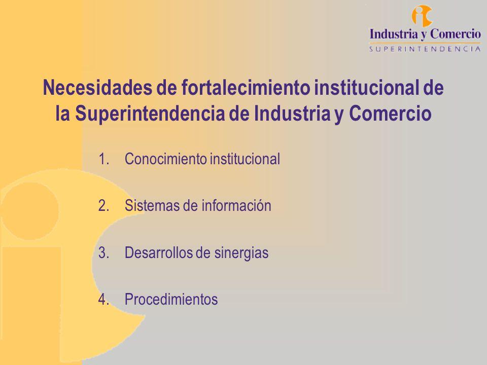 Necesidades de fortalecimiento institucional de la Superintendencia de Industria y Comercio 1.Conocimiento institucional 2.Sistemas de información 3.D