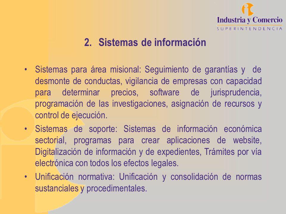 2.Sistemas de información Sistemas para área misional: Seguimiento de garantías y de desmonte de conductas, vigilancia de empresas con capacidad para