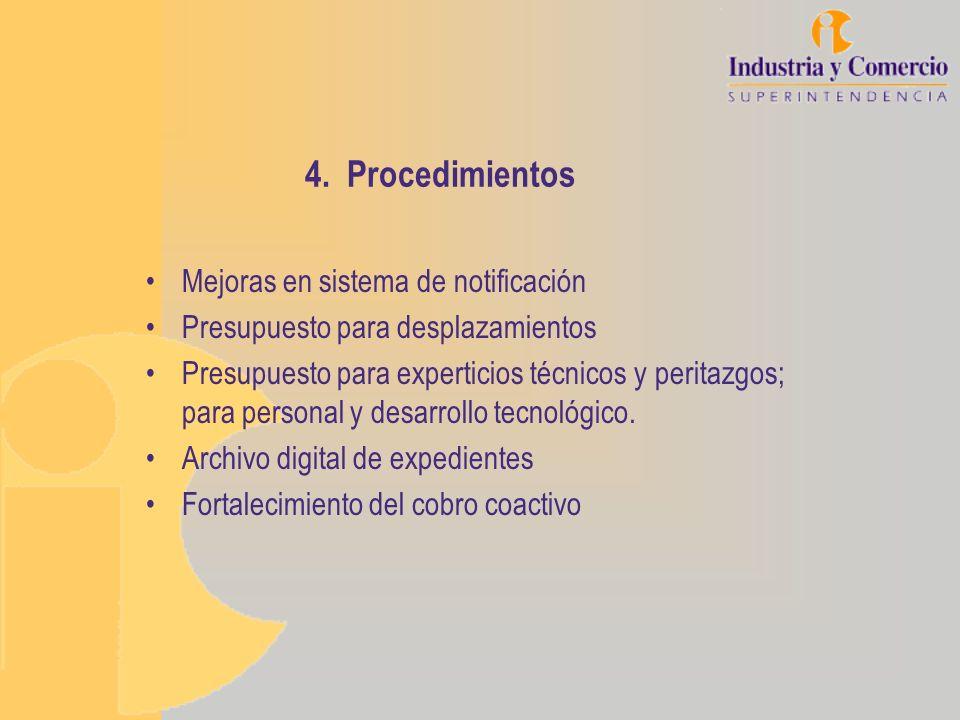 4. Procedimientos Mejoras en sistema de notificación Presupuesto para desplazamientos Presupuesto para experticios técnicos y peritazgos; para persona