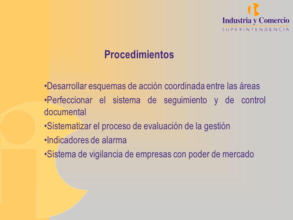 Procedimientos Desarrollar esquemas de acción coordinada entre las áreas Perfeccionar el sistema de seguimiento y de control documental Sistematizar e