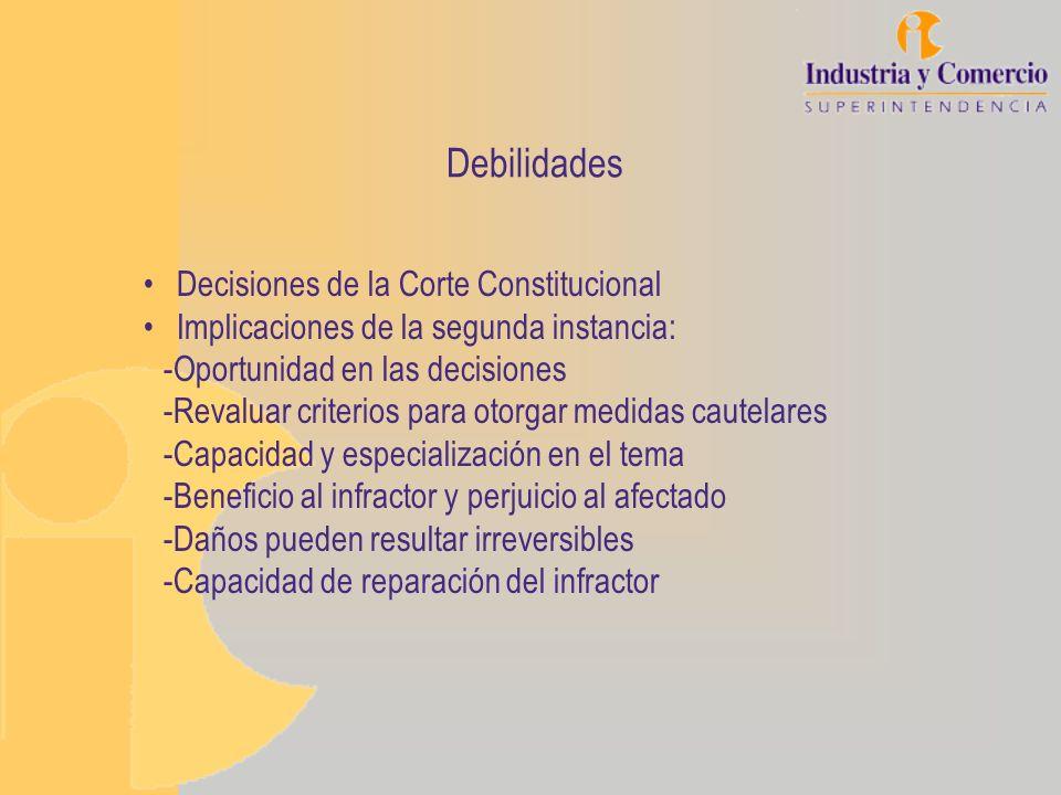 Debilidades Decisiones de la Corte Constitucional Implicaciones de la segunda instancia: -Oportunidad en las decisiones -Revaluar criterios para otorg