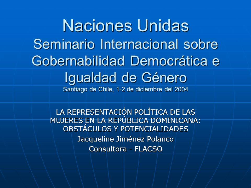 DESCRIPCIÓN DE LA INVESTIGACIÓN Este informe contiene un diagnóstico analítico con observaciones generales y específicas sobre la representación política de las mujeres en la República Dominicana.Este informe contiene un diagnóstico analítico con observaciones generales y específicas sobre la representación política de las mujeres en la República Dominicana.