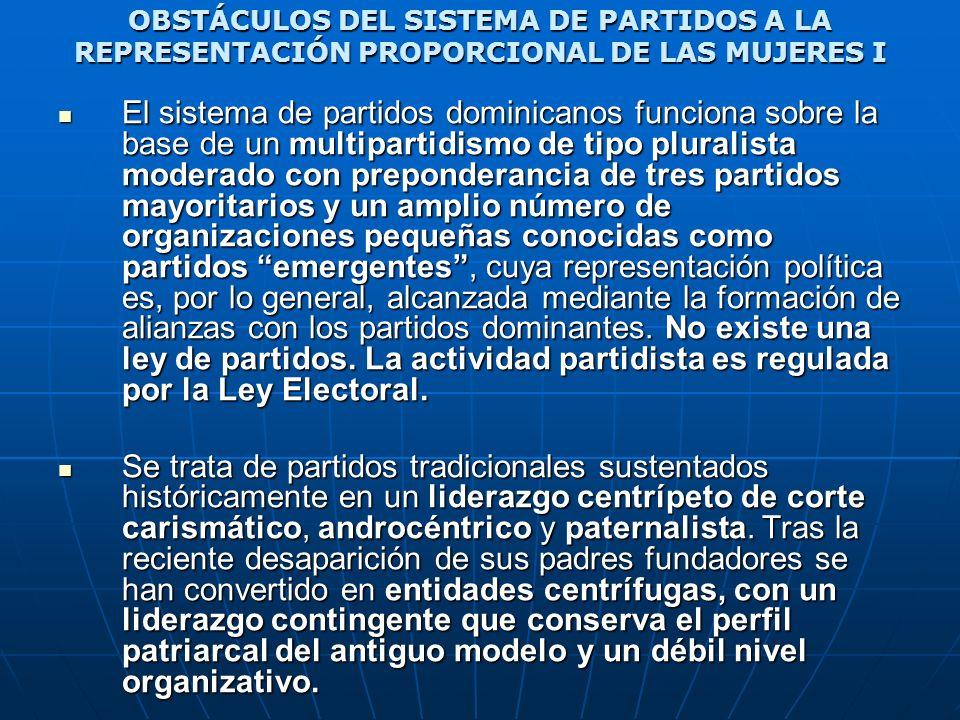 OBSTÁCULOS DEL SISTEMA DE PARTIDOS A LA REPRESENTACIÓN PROPORCIONAL DE LAS MUJERES I El sistema de partidos dominicanos funciona sobre la base de un m