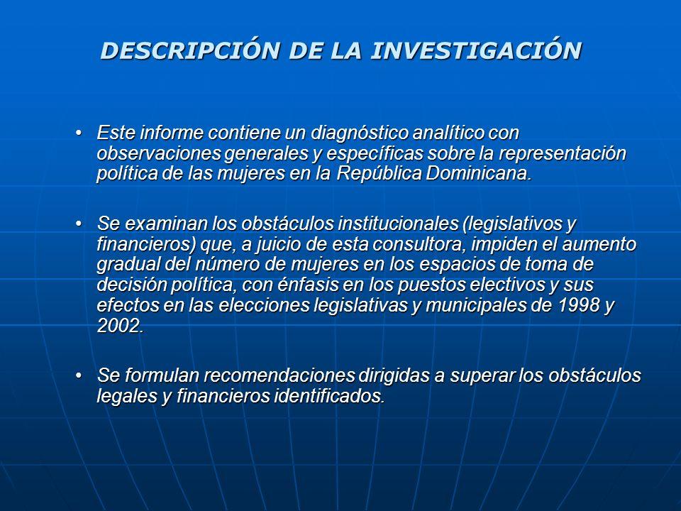 LA REPRESENTACIÓN EN EL SENADO DOMINICANO La elección se hace mediante mayoría simple, a razón de un senador por cada una de las 30 circunscripciones en 1998 y 32 en el 2002.