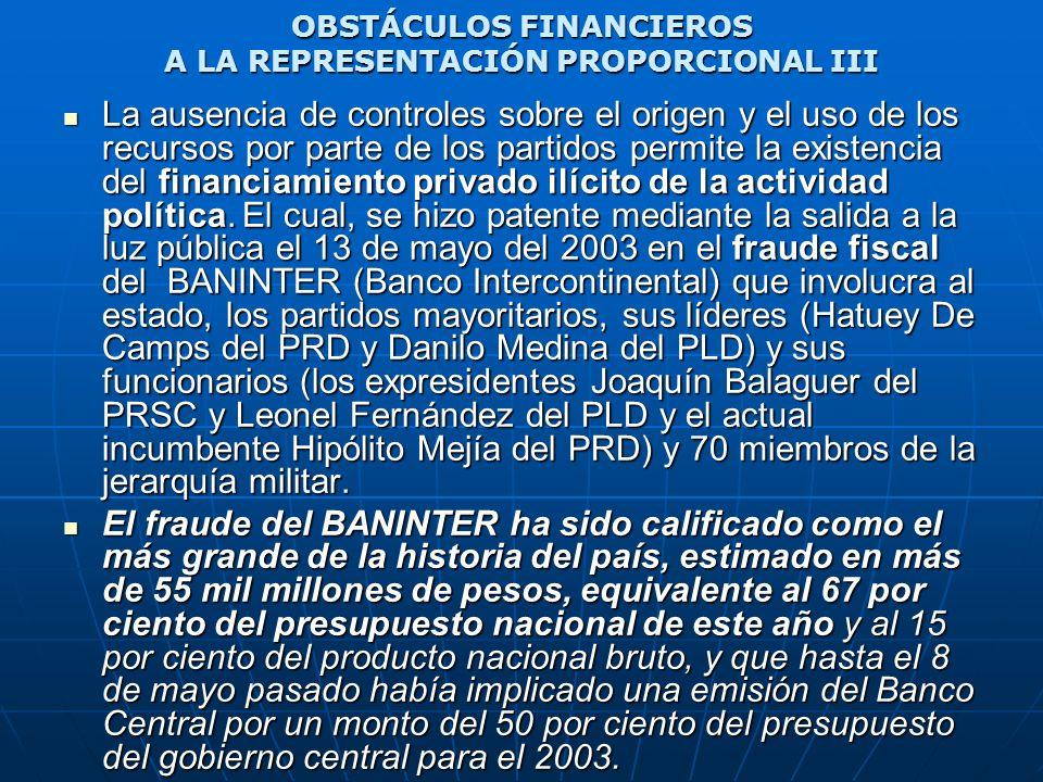 OBSTÁCULOS FINANCIEROS A LA REPRESENTACIÓN PROPORCIONAL III La ausencia de controles sobre el origen y el uso de los recursos por parte de los partido