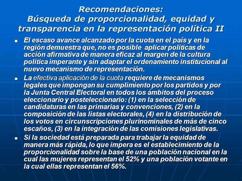 Recomendaciones: Búsqueda de proporcionalidad, equidad y transparencia en la representación política II El escaso avance alcanzado por la cuota en el
