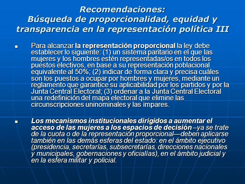 Recomendaciones: Búsqueda de proporcionalidad, equidad y transparencia en la representación política III Para alcanzar la representación proporcional