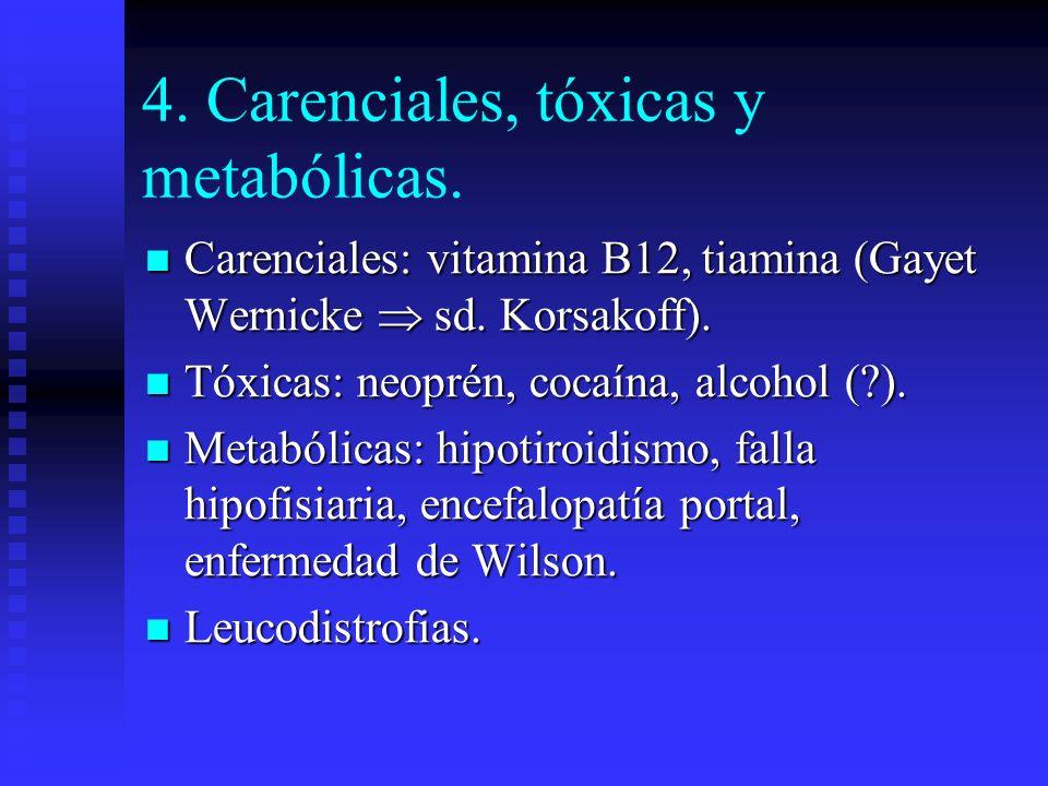 4. Carenciales, tóxicas y metabólicas. Carenciales: vitamina B12, tiamina (Gayet Wernicke sd. Korsakoff). Carenciales: vitamina B12, tiamina (Gayet We